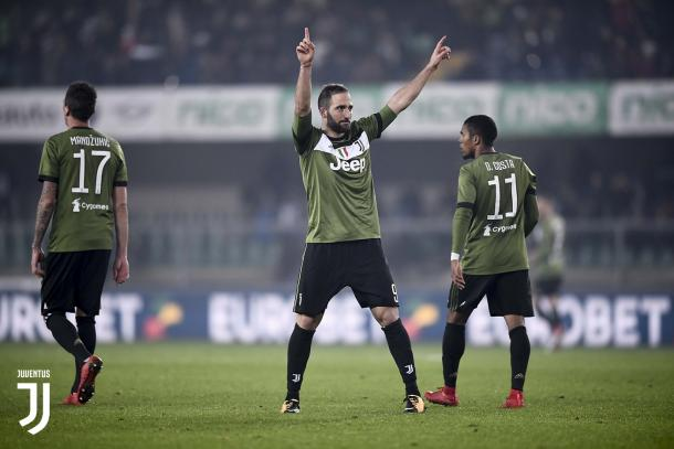 Federico's brother, Gonzalo Higuain celebrating a goal. | Photo: Juventus.com