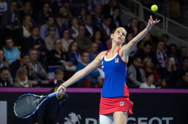 Pliskova with some good holds but faltered to hand the break back | Photo: Fed Cup