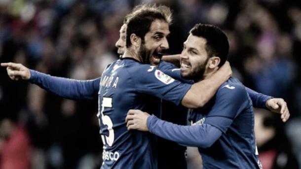 Sergio Mora celebrando un gol   Fotografía: Getafe CF