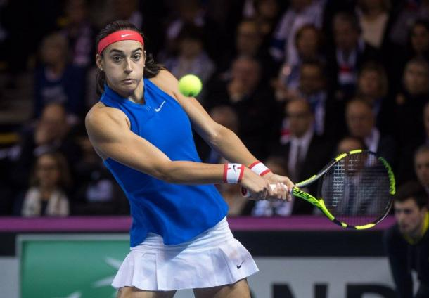 Garcia makes a solid start to the first set | Photo: Fed Cup