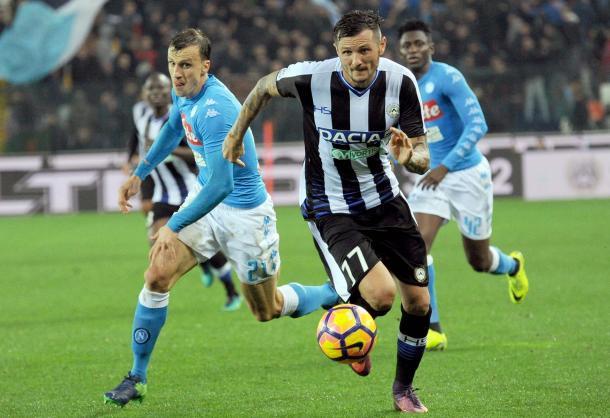 Thereau nella sfida dell'andata. Fonte: www.facebook.com/UdineseCalcio1896