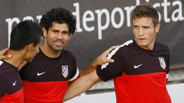 Saúl Ñíguez y Diego Costa durante un entrenamiento en el Atlético de Madrid. Fotografía: Diario AS