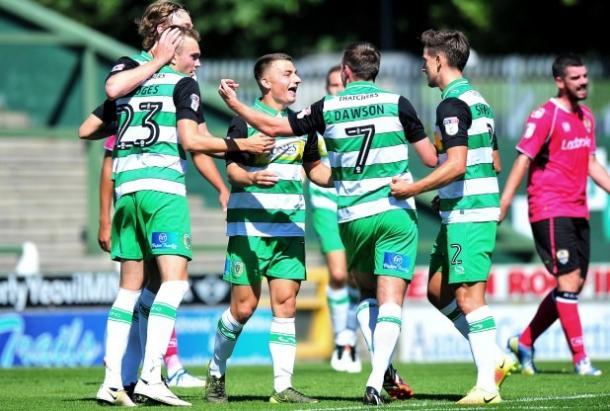 Otis Khan celebrates scoring Yeovil Town's second goal against Notts County.   Photo: Somerset Gazette