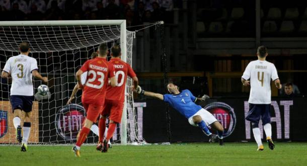 Momento del gol de Trajkovski. / Foto: uefa.com