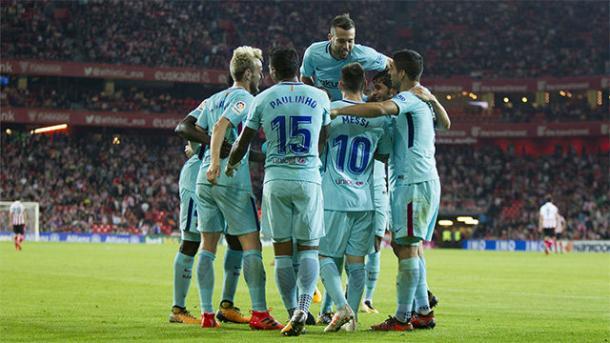 Los jugadores del Barça celebrando un gol | FC Barcelona