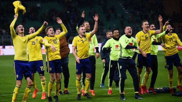 Suecia celebrando la clasificación a Rusia Foto: Marca