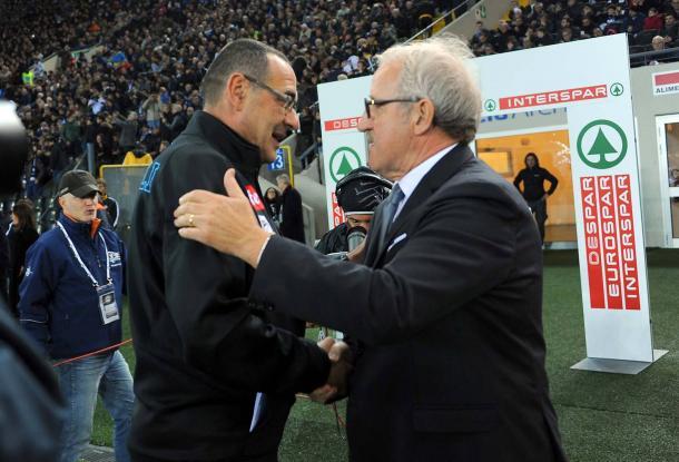 Delneri saluta Sarri. Fonte: www.facebook.com/UdineseCalcio1896