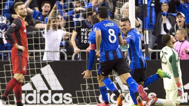 Celebración del gol de Montreal en el 401 Derby (impactmontreal.com)
