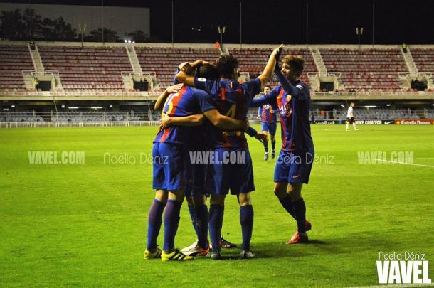 El equipo celebrando uno de los goles | Foto: Noelia Déniz (VAVEL)