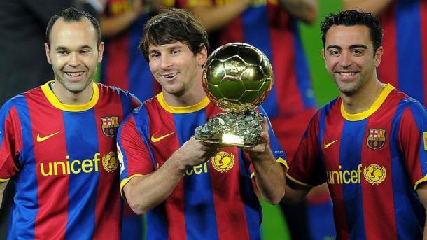Messi, Xavi e Iniesta, un podio para la historia. FOTO: FC Barcelona