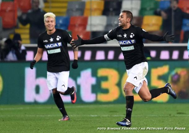 Danilo esulta per il gol vittoria contro il Bologna. Fonte: www.facebook.com/UdineseCalcio1896