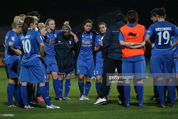 The Blues: Birmingham City players left downcast after losing a second consecutive Conti Cup final to Arsenal