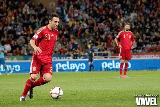 Cazorla durante un encuentro con la selección española de fútbol | Foto: Juan Ignacio Lechuga, VAVEL España