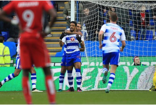 Los jugadores del Reading celebran el primer gol de la tarde. Foto: Reading