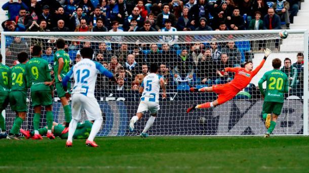 Momento del gol de falta de Óscar Rodríguez | Foto: CD Leganés