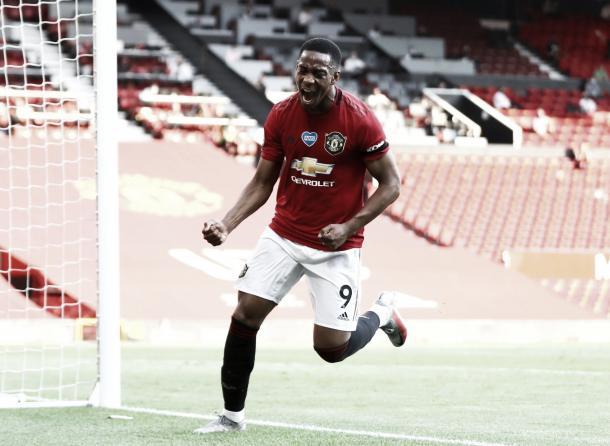 Martial celebra con rabia su primer hac trick / FOTO: Premier League