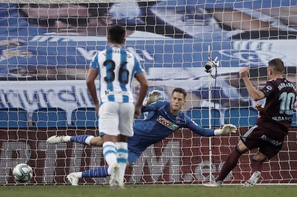 Iago Aspas transforma el penalti que decidió el Real Sociedad-Celta | Foto: EFE