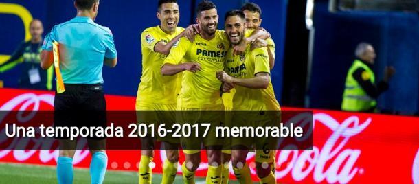 Celebrando la consecución del quinto puesto en la temporada pasada. Fuente: villarrealcf.es