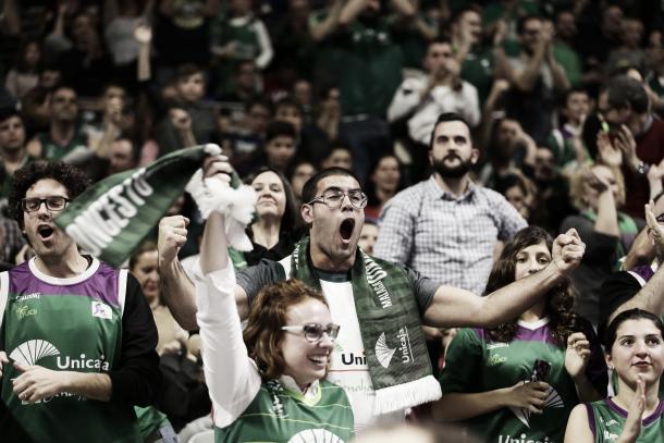 Los 'fans' de Unicaja enloquecieron con la victoria del domingo / Foto: M. Pozo. ACB