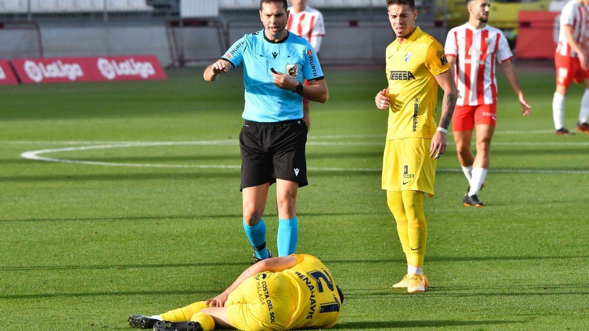 Momento de la lesión de Calero / Fuente: Málaga CF