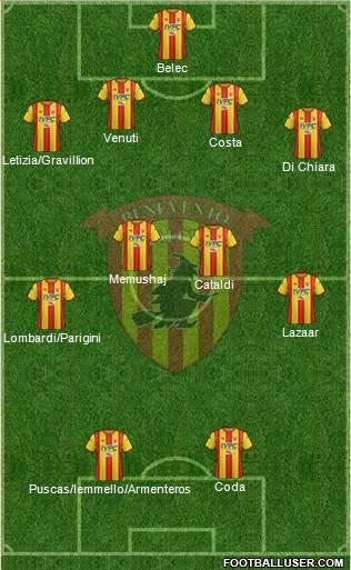 Formazione Benevento | Vavel Italia via Footballuser.com