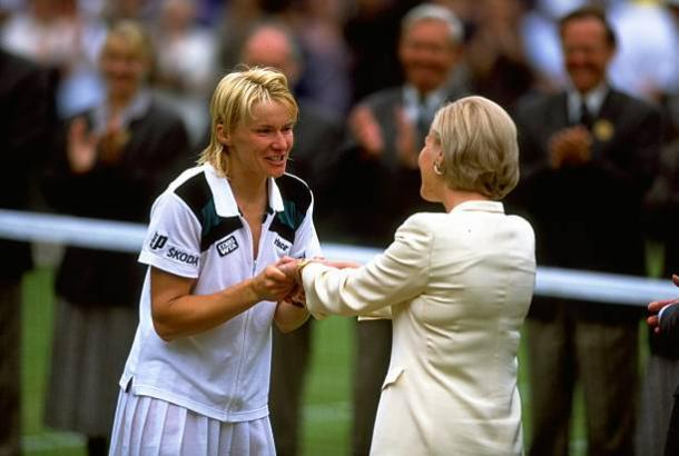 Novotna is congratulated by the Duchess of Kent following her 1998 triumph (Getty/Gary M. Prior)