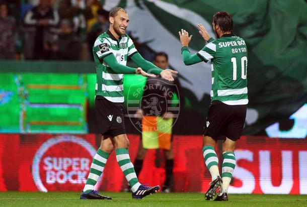 Bas Dost reforçou o estatuto de melhor marcador da liga e tem agora 14 golos | Foto - César Santos - Facebook Oficial Sporting CP