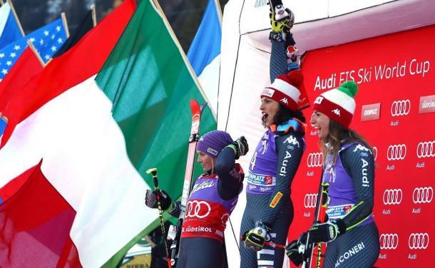 Federica Brignone e Marta Bassino insieme sul podio: la squadra di Gigante se la gioca.