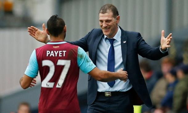 Dimitri Payet celebrates with Slaven Bilic (Getty Images)