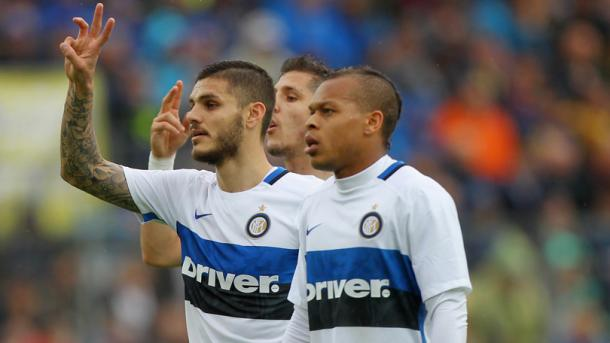 Icardi, Biabiany e Jovetic nel match disputato dall'Inter a Frosinone. Fonte: Getty Images.