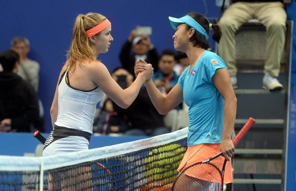Elina Svitolina and Peng Shuai meet at the net after the match | Photo: WTA Taiwan Open Facebook