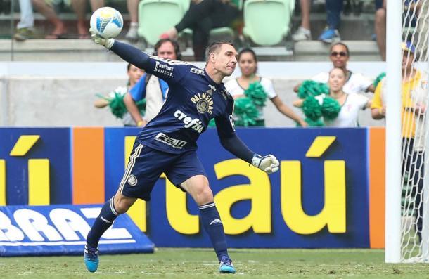 Prass em seu 100º jogo com a camisa do Palmeiras (Foto: Cesar Greco / Fotoarena)