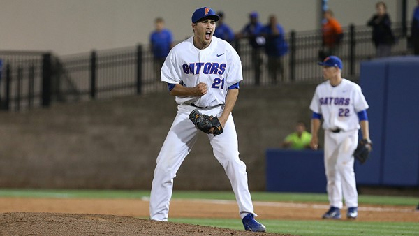 Faedo reacts during Florida's game against South Carolina last night/Photo: Florida athletics website