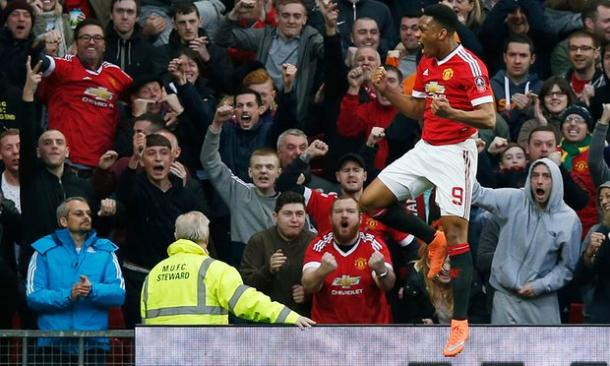 Martial celebrating his equaliser against West Ham | Photo:Getty Images