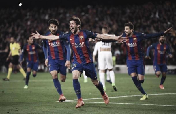 Sergi Roberto celebrando tras marcar el 6-1 que daba el pase al Barça | Foto: UEFA