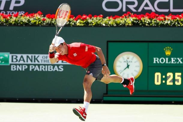 Kei Nishikori a Indian Wells. Photo by Michael Cummo/BNP Paribas Open