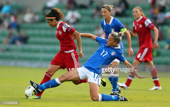 Nadia Nadim, here pictures against Italy in Euro 2013, has been on fire for Denmark, and her team is close to qualify