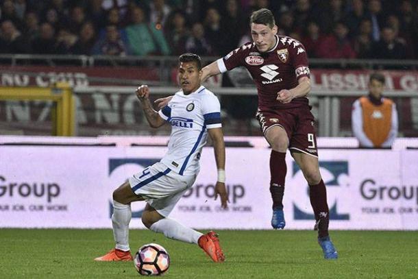  Belotti in azione contro l'Inter. Fonte: https://www.facebook.com/TorinoFootballClub/ 