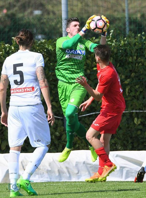 Scuffet in azione contro il Campodarsego. Fonte: www.facebook.com/UdineseCalcio1896