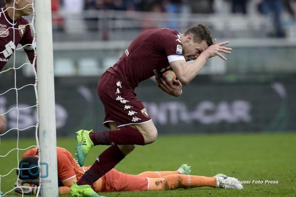 """Belotti festeggia il pareggio. Fonte:""""www.facebook.com/UdineseCalcio1896"""""""