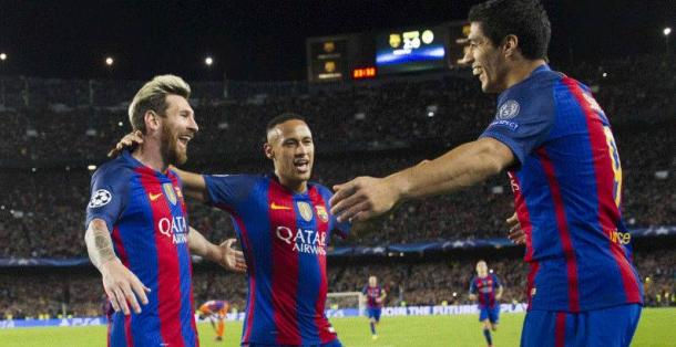 Lionel Messi, Neymar jr, Luis Suarez.   vocidisport.it