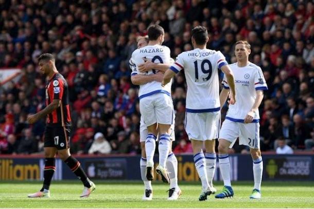 I Blues festeggiano uno dei 3 gol siglati al Bournemouth una settimana fa. | footballinall.com