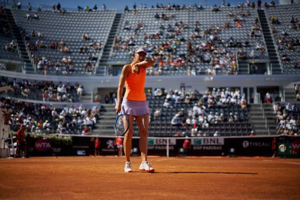 Maria Sharapova sul centrale del Foro Italico. Ettore Ferrari/European Pressphoto Agency