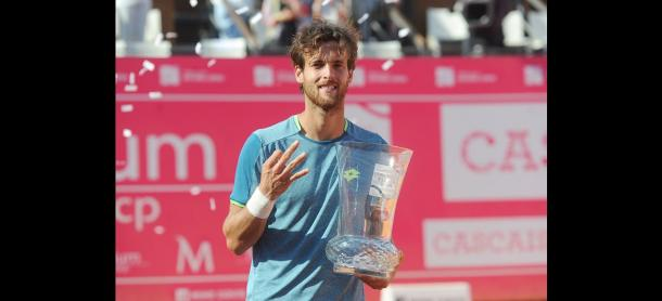 Joao Sousa poses with his Estoril Open trophy. Photo: Estoril Open