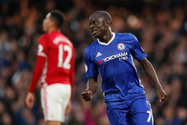 L'esultanza di N'Golo Kanté dopo il quarto gol del 4-0 in campionato. | thesun.co.uk
