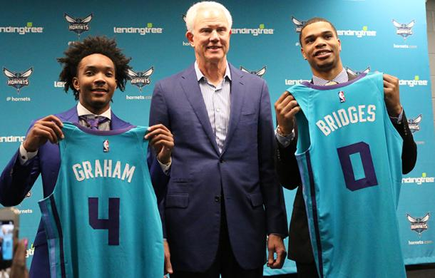 Miles Bridges and Devonte' Graham are introduces to the local media |Sam Perley/ hornet.com|