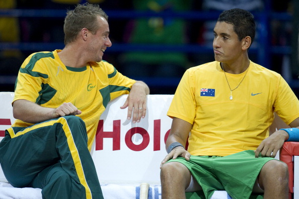 Lleyton Hewitt and Kyrgios during a 2013 Davis Cup tie (Photo: Getty Images)