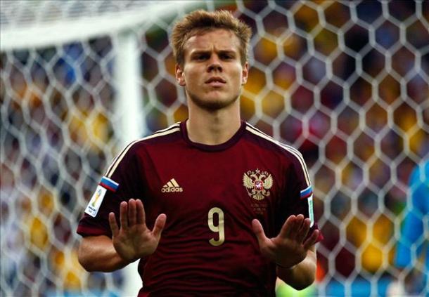 Kokorin celebrando un gol con Rusia. Foto:Goal