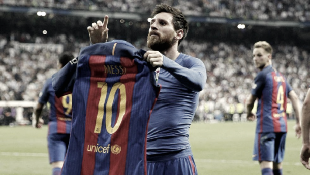 Messi celebrando el gol de la victoria en el Santiago Bernabéu. | Foto: Agencia EFE