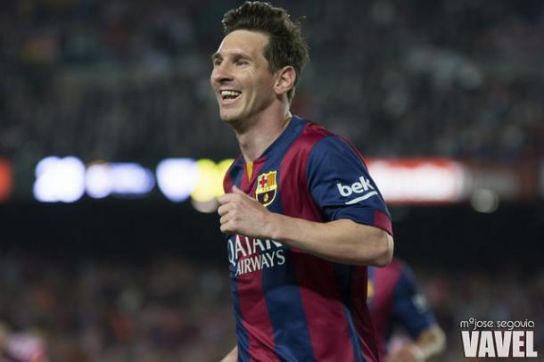 Leo Messi celebrando su gol ante el Athletic Club en la final de Copa en el Camp Nou. | Foto: Ma Jose Segovia, VAVEL